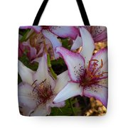 White And Pink Lilies Tote Bag
