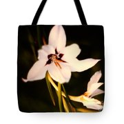 White And Purple Lily Tote Bag