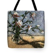 White And Red Dahlias Tote Bag