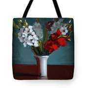 White And Red Gladioli Tote Bag