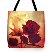 White And Red Roses Tote Bag