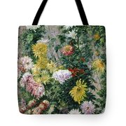 White And Yellow Chrysanthemums Tote Bag by Gustave Caillebotte