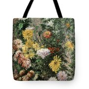 White And Yellow Chrysanthemums In The Garden At Petit Gennevilliers Tote Bag