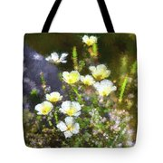 White And Yellow Poppies Abstract 2   Tote Bag