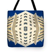 White Apartment Block Abstract And Blue Sky Tote Bag