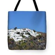 White Architecture In The City Of Oia In Santorini, Greece Tote Bag