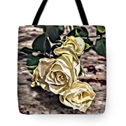 White Baby Roses Tote Bag