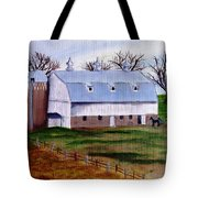 White Barn On A Cloudy Day Tote Bag