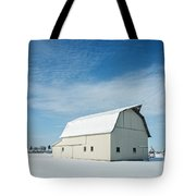 White Barn With Snow Tote Bag