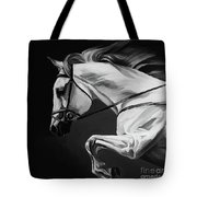 White Beautiful Horse B And W Tote Bag