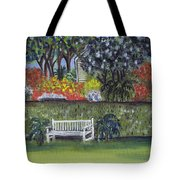 White Bench In Colorful Garden Tote Bag