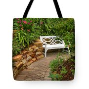 White Bench In The Garden Tote Bag
