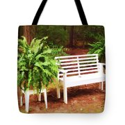 White Bench Sitting In A Beautiful Garden 2 Tote Bag