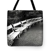 White Benches-  By Linda Wood Woods Tote Bag