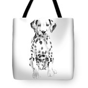 Dalmatian Dog Watercolor Painting, White Black Spotted Dalmatian Puppy Art Print Tote Bag