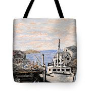 White Boat In Peggys Cove Nova Scotia Tote Bag