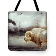 White Buffalo And Raven Tote Bag