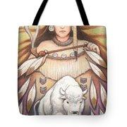 White Buffalo Woman Tote Bag