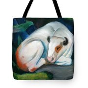 White Bull Resting In The Woods By Franz Marc Tote Bag