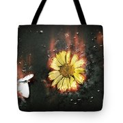 White Butterfly And Yellow Flower Tote Bag