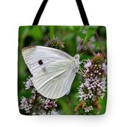 White Butterfly At The Good Earth Market Tote Bag