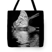 White Butterfly Bw Tote Bag