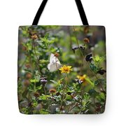 White Butterfly On Golden Daisy Tote Bag