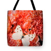White Butterfly On Pink Carnations Tote Bag