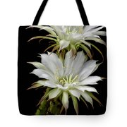 White Cactus Flowers Tote Bag