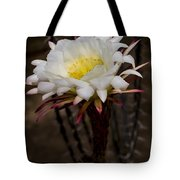 White Cactus Fower Tote Bag