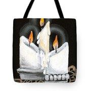 White Candle Trio Tote Bag