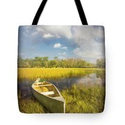 White Canoe Textured Painting Tote Bag