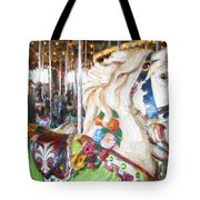 White Carousel Horse Dressed Up Tote Bag