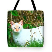 White Cat Tote Bag