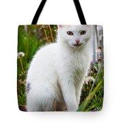 White Cat Sitting Tote Bag