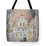White Cathedral Under Snow Tote Bag