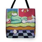 White Cats - Cat Napping Tote Bag