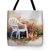 White Chair With Flower Pots Tote Bag