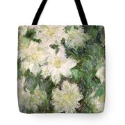 White Clematis Tote Bag by Claude Monet