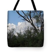 White Clouds With Trees Tote Bag