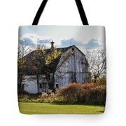 White Country Barn Tote Bag