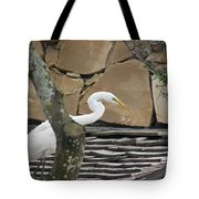 White Crane On Roof Tote Bag