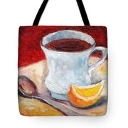 White Cup With Lemon Wedge And Spoon Grace Venditti Montreal Art Tote Bag