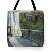 White Curtain View Tote Bag