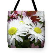 White Daisy Floral Art Print Canvas Pink Blossom Baslee Troutman Tote Bag