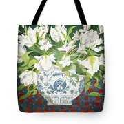 White Double Tulips And Alstroemerias Tote Bag