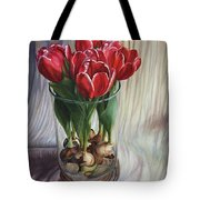 White-edged Red Tulips Tote Bag