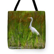 White Egret In Waiting Tote Bag