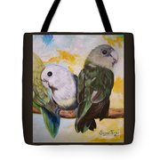 Chloe The    Flying Lamb Productions           White Faced Lovebirds Tote Bag
