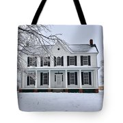 White Farm House During Winter Tote Bag